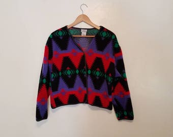 colorful 80s cropped cardigan