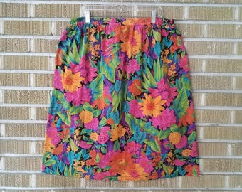 plus size 90s neon tropical floral skirt -xxl-