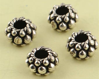Vintage Style Thai Sterling Silver Spacer Beads, 8mm (CY215)