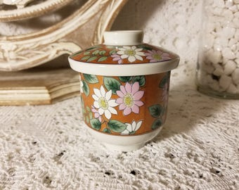 Floral Asian tea cup and lid