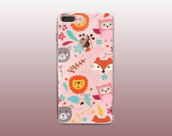 Animals Clear TPU Phone Case for iPhone 8- iPhone 8 Plus - iPhone X - iPhone 7 Plus-iPhone 7-iPhone 6-iPhone 6S-Samsung S8