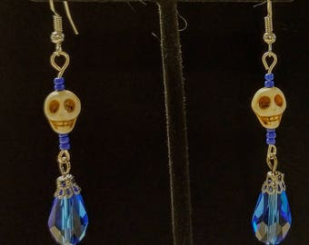 Blue with white skull on stainless steel