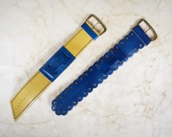 Vintage Retro Blue Yellow Leather Armband Watchstrap Bracelet Cuff 1960's/1970's