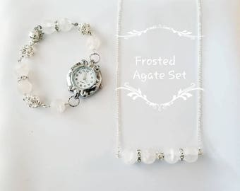 Frosted Agate Gemstone Watch and Necklace Set