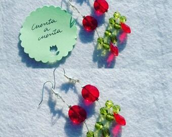 Red Teardrop earrings, red earrings, green earrings, stylish earrings, fashion earrings, original earrings, teardrop