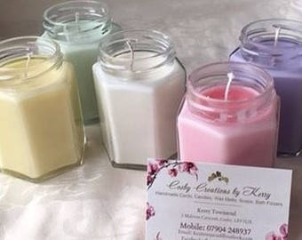 Hand Made Soy Wax scented Glass Container Candles