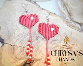 Micromacrame , Heart  Earrings,Boho, Chic, Hippies, Valentine's by Chrysa's hands