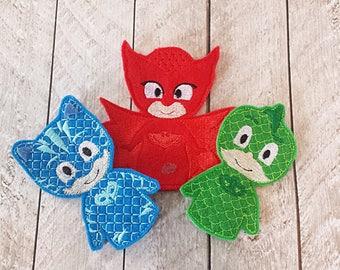 Night time hero Finger Puppet set - Owl, Gecko, Cat, Puppets, Masks, Toys, Pajama