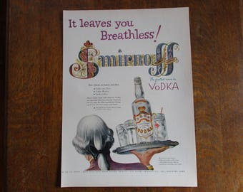 1953 Original Vintage Smirnoff Vodka ad