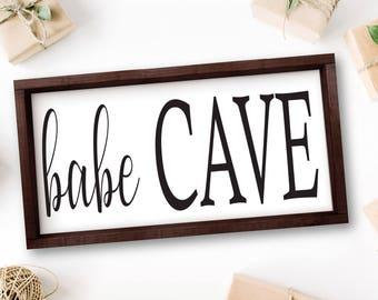 Babe Cave, Family Room Quotes, Wooden Signs, Rustic Wood Signs, Living Room Decor, Rustic Entryway Decor, Farmhouse Decor, Foyer, Above Bed