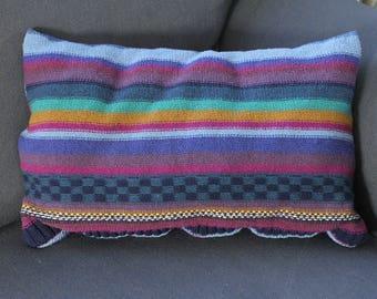 Boho multi-striped sweater pillow