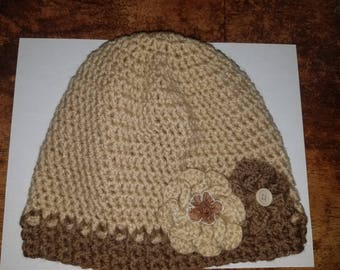 Crochet Beanie-Hat with Flowers