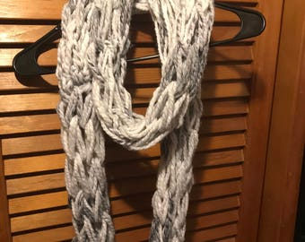Long White and Gray Arm Knit Scarf