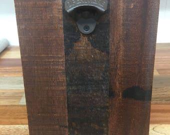 Reclaimed wood bottle opener wall mount