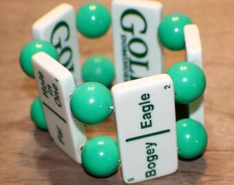 Vintage Golf Domino Bracelet - Green Bakelite Beads - One of a Kind - Recycled - Game Piece Collection