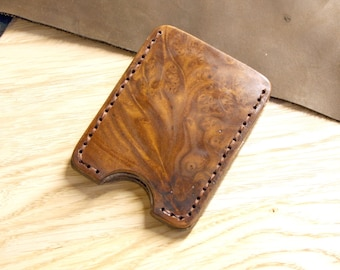 Leather and wood card holder,classic credit cardholder, Minimalist Wallet,