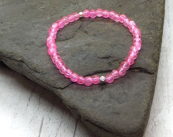 Pink crackle beads, elastic bracelet, stretch bracelet, girls gift, stretch bracelet