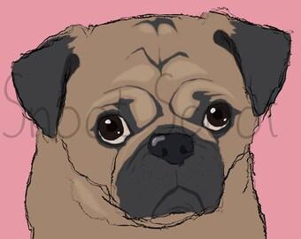 Pug Digital Art Print