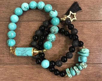 Turquoise and Back Onyx (Set of 3)