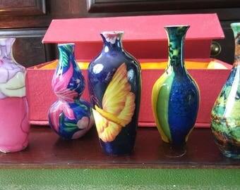 Vintage Set of 5 Mini Asian Art Vases Boxed