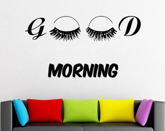 Wall Decal Window Sticker Beauty Salon Woman Face Eyelashes Lashes Eyebrows Brows t660