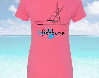 Fishbone Fishing Ladies Tee/Fishbone Shirt/Womens fishing shirt/Fishing gift for her/Gift for her/Womens boating shirt/Nautical Shirt/Ladies