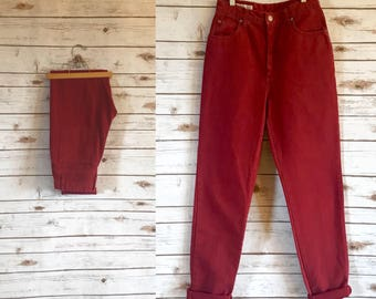 90's Vintage High Waist Banana Republic Jeans, Vintage High Waisted Red Jeans by Banana Republic, Vintage Red Denim Jeans Size 29 x 32