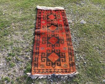 Very rare vintage runner area rug, Free Shipping, 1.8 x 4.4 ft. aztec runner rug, pastel color rug, kitchen rug, ethnic rug, floor rug MB604