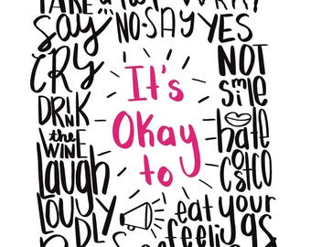 It's Okay to print, colorful, quote, download