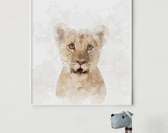 Tiger Watercolor Art - Baby Tiger Portrait -