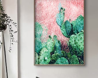 Bright Cactus Print - Cactus WallArt - Cactus Living Room Wall Art - FrameArt