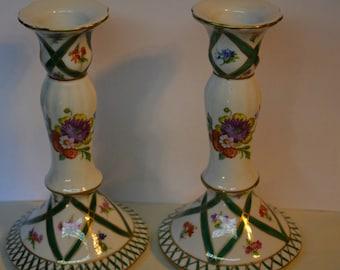Elios Handpainted Candlestick Pair