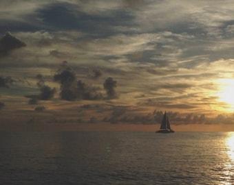 Sailboat Sunset Background