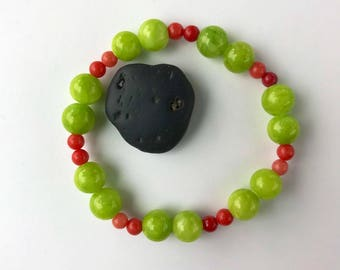 Lime and red stone