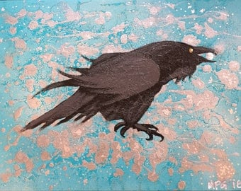 Raven with pearl.  Original painting signed and dated by artist.  Stretched box canvas, no need for frame.