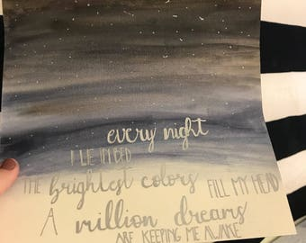 A Million Dreams Calligraphy Handwriting Quote Dorm Art Canvas Paper The Greatest Showman Quote