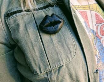 Whittled Wooden Lips Brooch