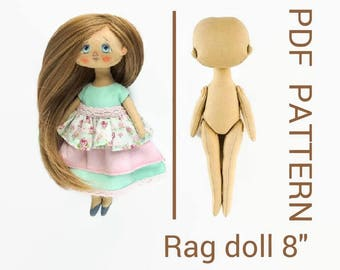 "Rag doll PDF 8"" Cloth doll PDF Interior doll epattern Interior doll PDF Easy rag doll pattern Girldoll pdf Fabric doll pdf Soft doll pdf"