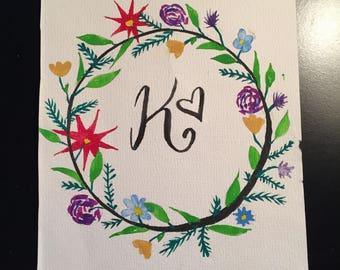 watercolor floral K