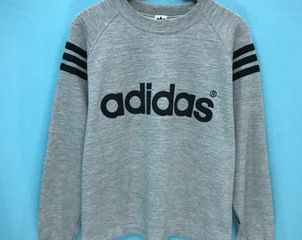 Rare!!! Vintage Adidas Sweatshirt Big Spell out 3 Stripes Trefoil  Pullover Jumper Sweater M Size Fit to L