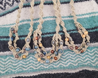 2 & 3 Tiered Beaded Thin Hemp Necklaces