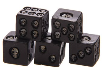 Black Gaming Skull Dice - Pack of 5 Unique Dice for War-Gaming, RPG and More!