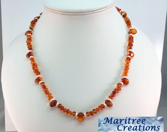 925 sterling silver necklace with Baltic amber.