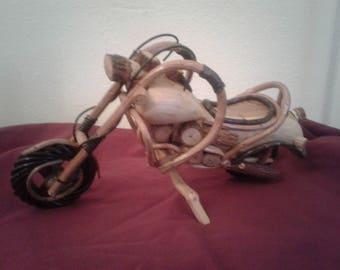 Handmade wooden motorcycle