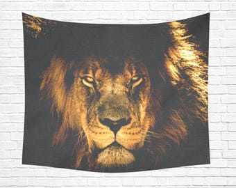 "African Lion Wall Tapestry 60""x 51"""