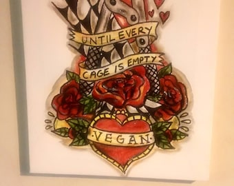 Hand painted vegan animal rights canvas - until every cage is empty