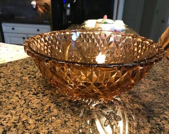 Vintage Cut Glass Bronze Colored Fruit Bowl