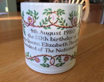 Mug celebrating the 80th Birthday of Queen Elizabeth the Queen Mother (WWII Queen Elizabeth)!