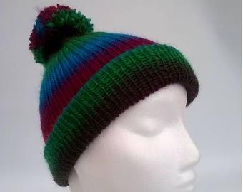 Brand New - Multi Coloured Pom Pom Hat