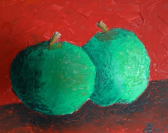 """Original Pallete knife oil paintaing 10"""" X 14"""" on canvas :Green Apples"""